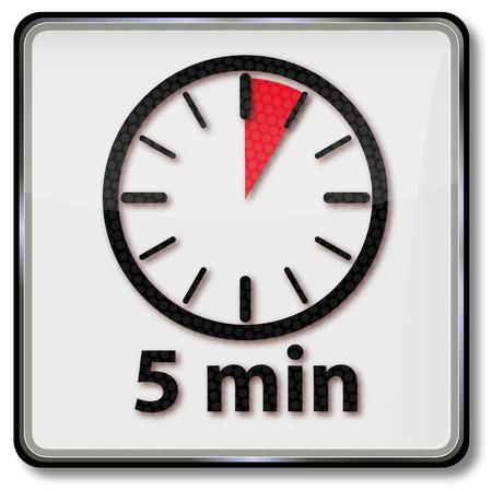 Klok met 5 minuten Vector Illustratie