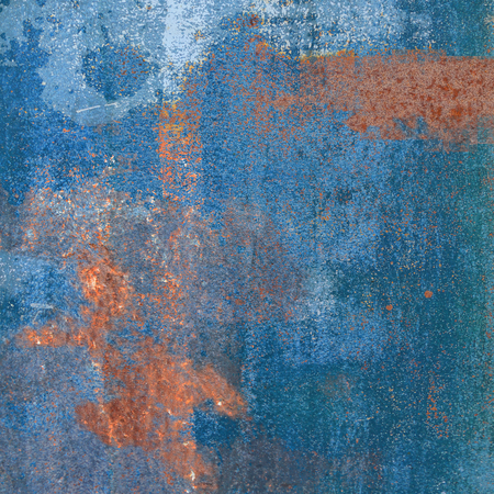gray matter: Rusty steel plate with blue ink residues Stock Photo