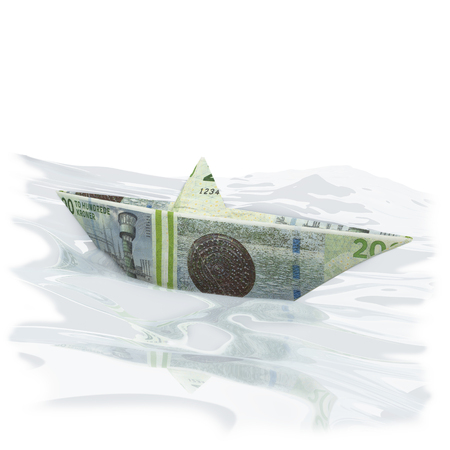 domestic policy: Little paper boat with 200 Danish kroner