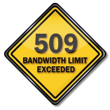 Computer-Zeichen Computer-Schutz 509 Bandbreitengrenze überschritten Vektorgrafik