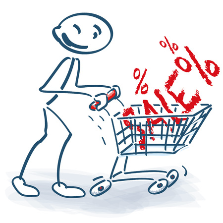 shoppings: Stick figure with shopping cart and sale