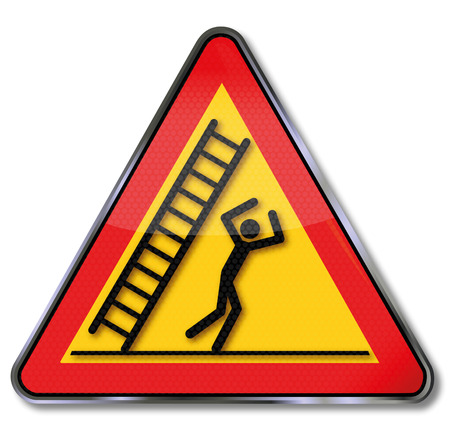 hazard: Danger sign warning falling ladder and fall on the head