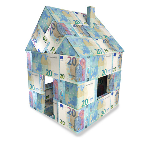 20 euro: House of 20 euro bills and a new home Stock Photo