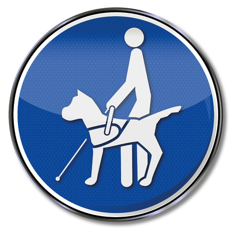 watch out: Blind dog on a leash and help for blind people Illustration