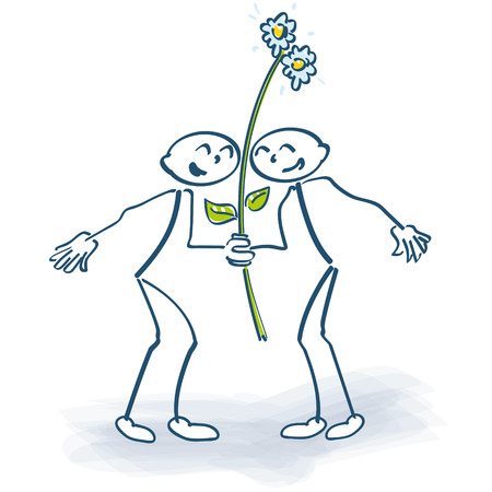 pick out: Two stick figures with a flower on a lolly