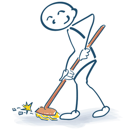 putz: Stick figure with a broom and housecleaning Illustration