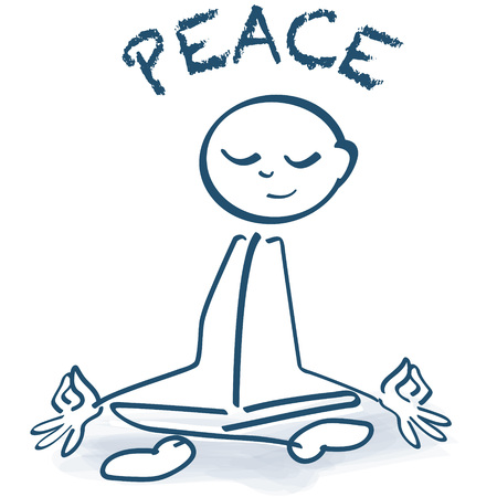 Stick figure sitting cross-legged, peace and yoga seat