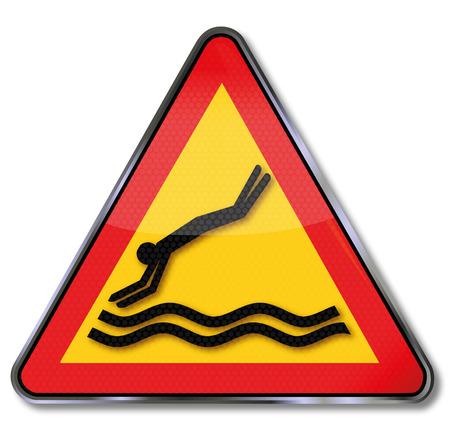 cabeza abajo: Saltar escudo hacerlo no boca abajo en el agua Vectores