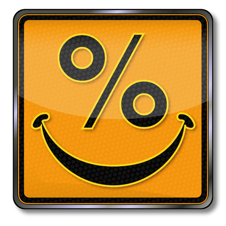 purchasing power: Sign with orange laughing percent face