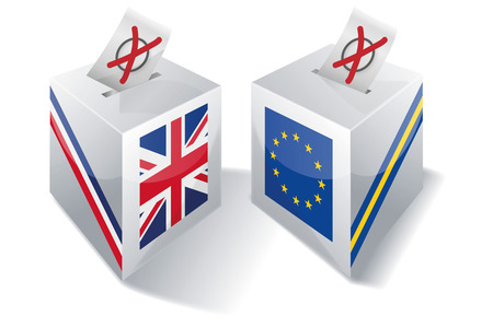 urns: Ballot box with Europe and the UK Illustration