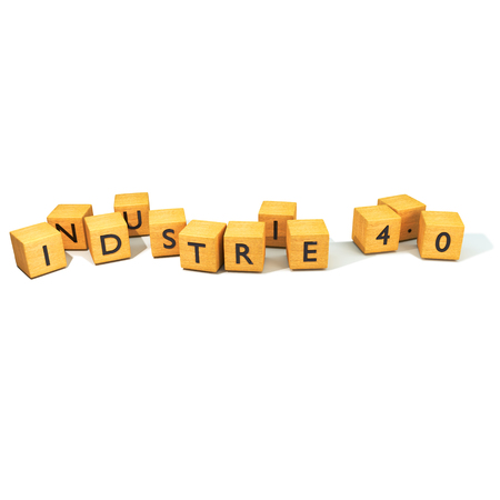 computer science: Dice with Industry 4.0 Stock Photo