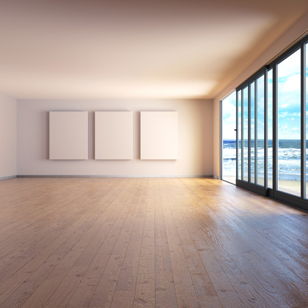 viewpoints: Room with three screens and wooden floor at the sea