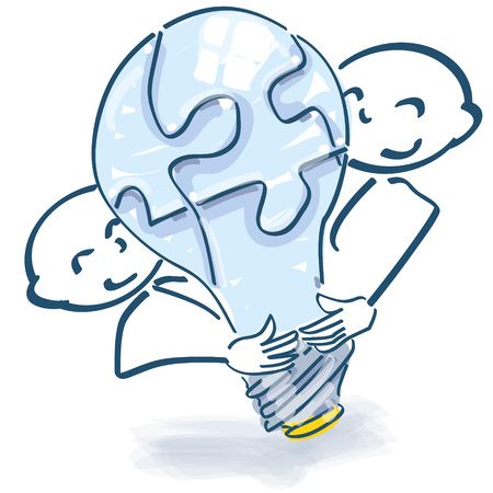 team spirit: Stick figures with light bulb as a puzzle and team spirit