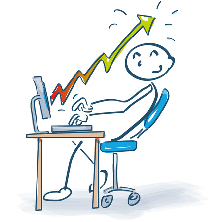 Stick figure at desk with computer and increasing sales