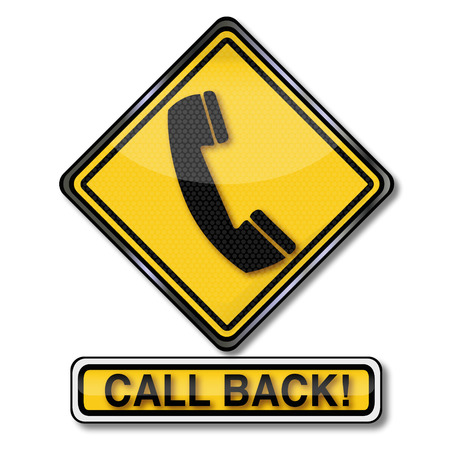 watch out: Sign with a telephone and call back Illustration