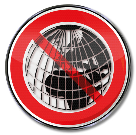 geographically: Prohibition sign with a world globe Illustration