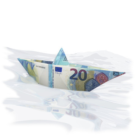 severance: Paper boat of twenty euro bills Stock Photo