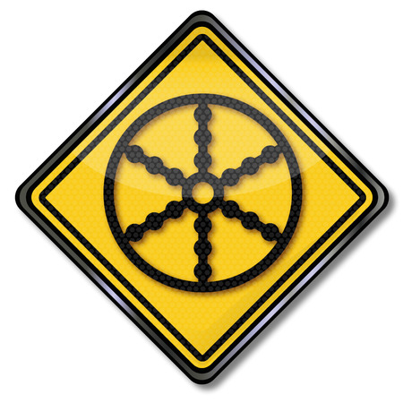 wagon wheel: Sign with wagon wheel and recurrence Illustration