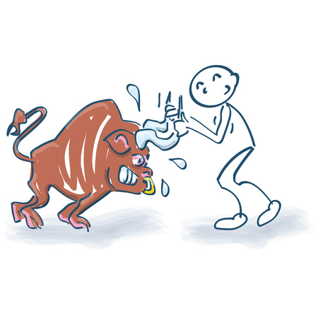 afflict: Stick figure with figure with bull by the horns Illustration