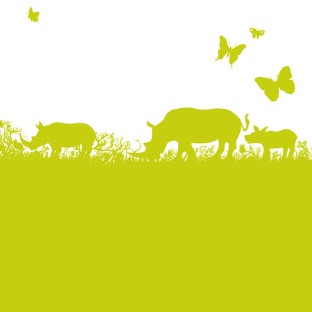 blades of grass: Blades of grass and rhinos in Africa Illustration