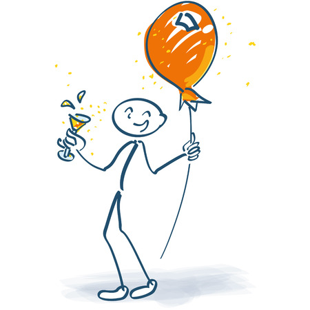 nudge: Stick figure with champagne glass and balloon on a stick Illustration