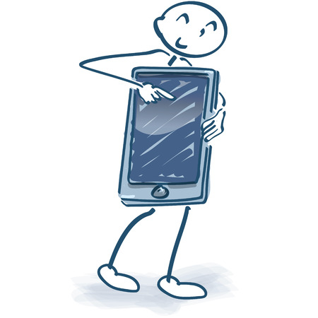 Stick figure with smartphone