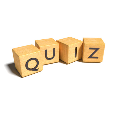 general knowledge: Dice with quiz Stock Photo