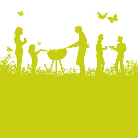 Grillen en barbecue in de tuin Stock Illustratie