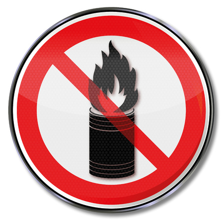 overheat: Sign with do not throw burning objects into the dustbin