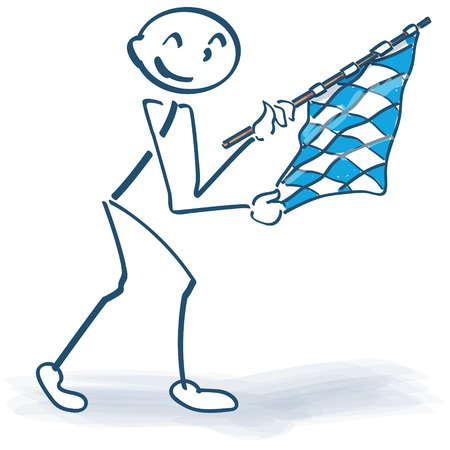 bavarian: Stick figure with bavarian flag Illustration