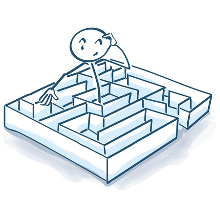 disorientation: Stick figure in maze and labyrinth