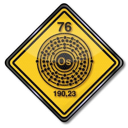 symbole chimique: bouclier de chimie et Osmium caractère chimique Illustration