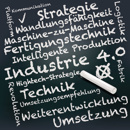 40: Blackboard and chalk with industry 4.0