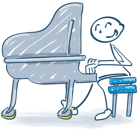 Stick figure at the piano and music