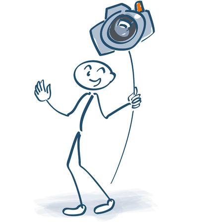 plate camera: Stick figure with a camera on a stick