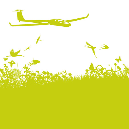 naturally: Glider in the air and nature Illustration