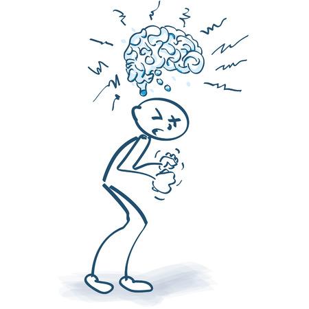 Figura del palillo con el cerebro y la ira Ilustración de vector