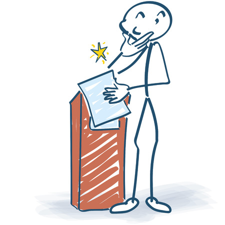 lectern: Stick figure at the lectern