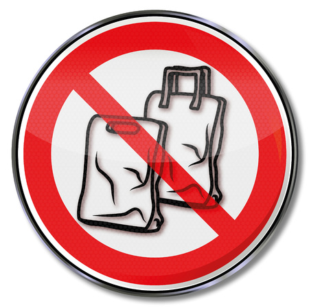 Prohibition sign for plastic bags with plastic bags Ilustrace