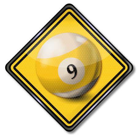 9 ball: Plate yellow white pool billiard ball number 9