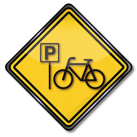 healthy path: Sign with bicycle and bicycle parking sign Illustration