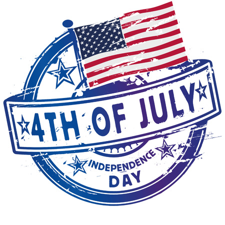 ratification: Rubber stamp fourth July and Independence Day Illustration