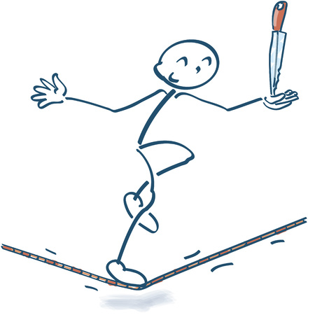 stressing: Stick figure on the rope with a knife