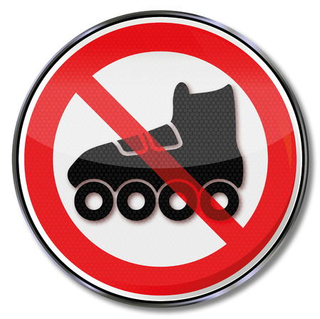 streak plate: Prohibition sign for roller skates