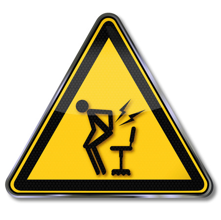 sudden: Sign attention sudden pain when getting up from the office chair Illustration