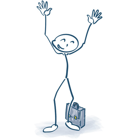 Stick figures with briefcase looking forward and having his arms in the air