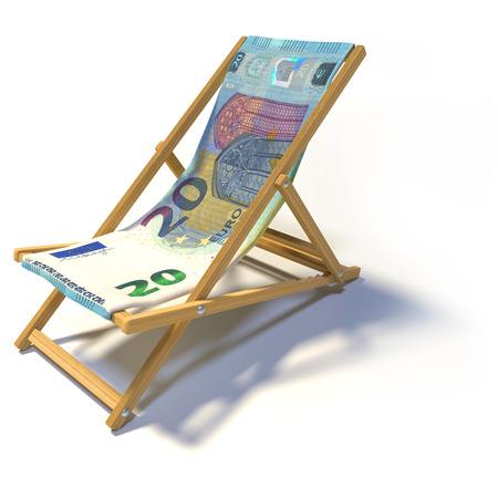 folding: Folding deckchair with 20 euro Stock Photo