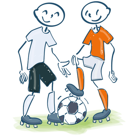striker: Stick figure as football player in white and orange
