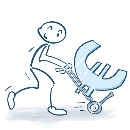 liquidity: Stick figure with hand truck and big Euro