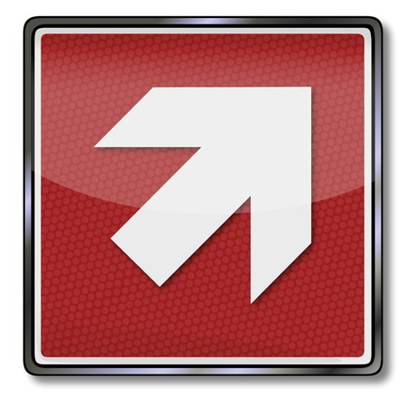escape route: Fire safety sign with up arrow right